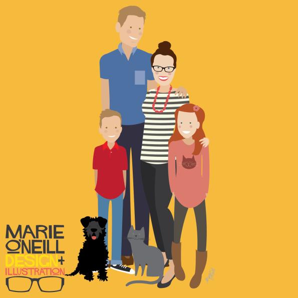 illustrated family portrait brisbane graphic designer illustrator pop portait -02