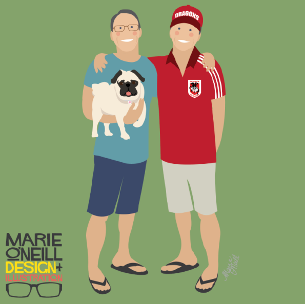 marie oneill brisbane illustrator pop portraits illustrated family portraits-01